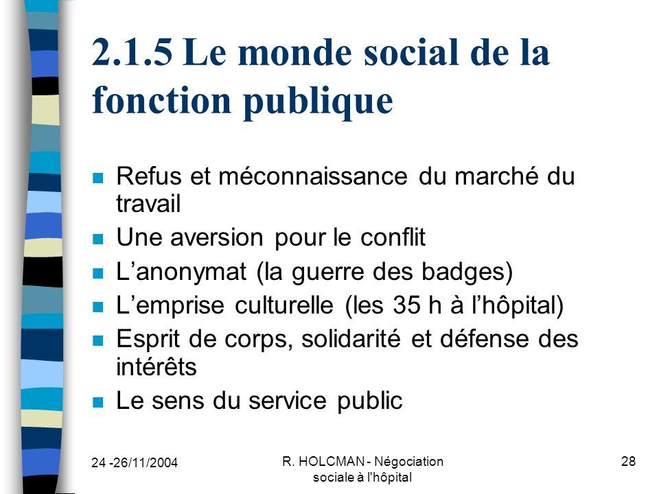 2.1.5 Le monde social de la fonction publique