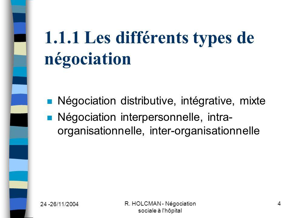 1.1.1 Les différents types de négociation