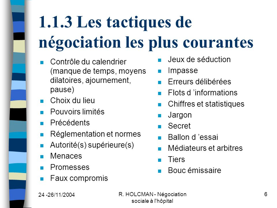 1.1.3 Les tactiques de négociation les plus courantes