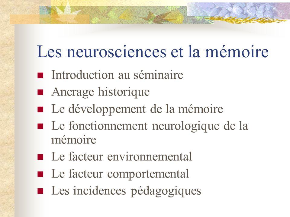 Les neurosciences et la mémoire