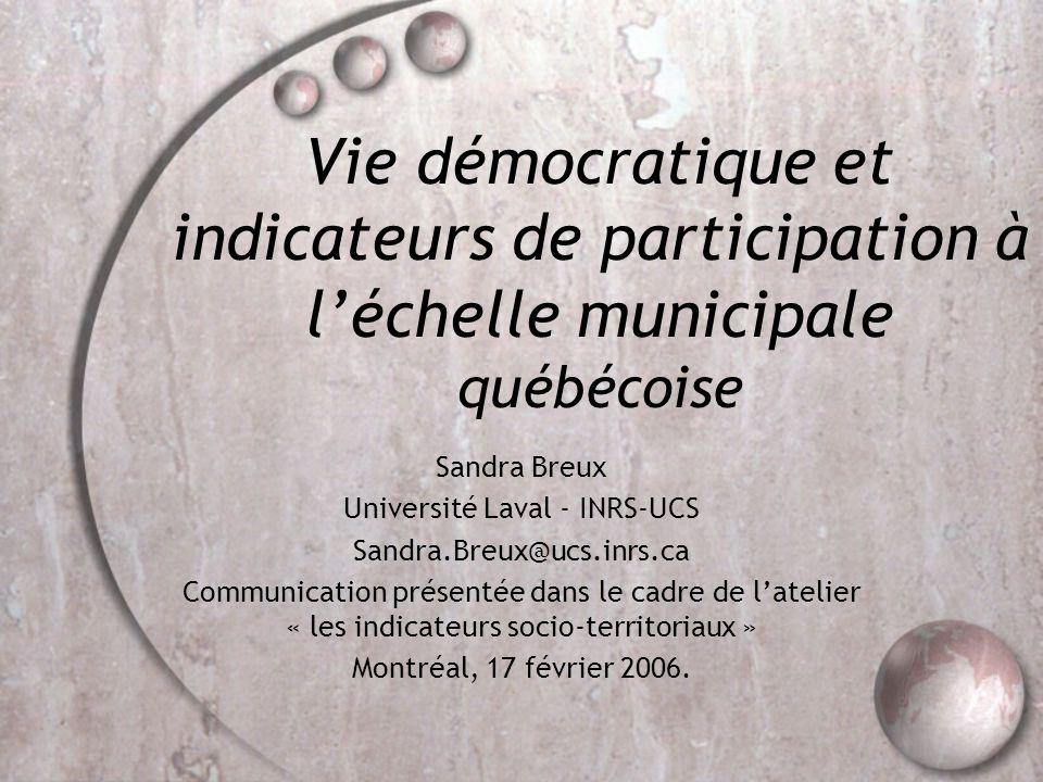 Introduction Échelle municipale québécoise: Participation faible.