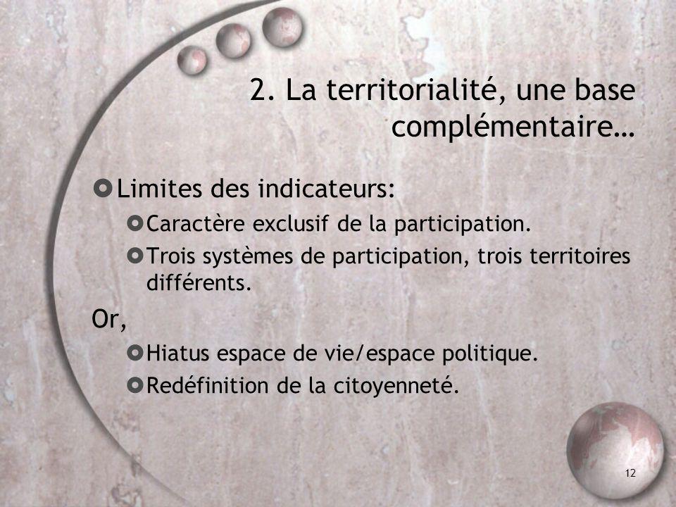 2. La territorialité, une base complémentaire …..