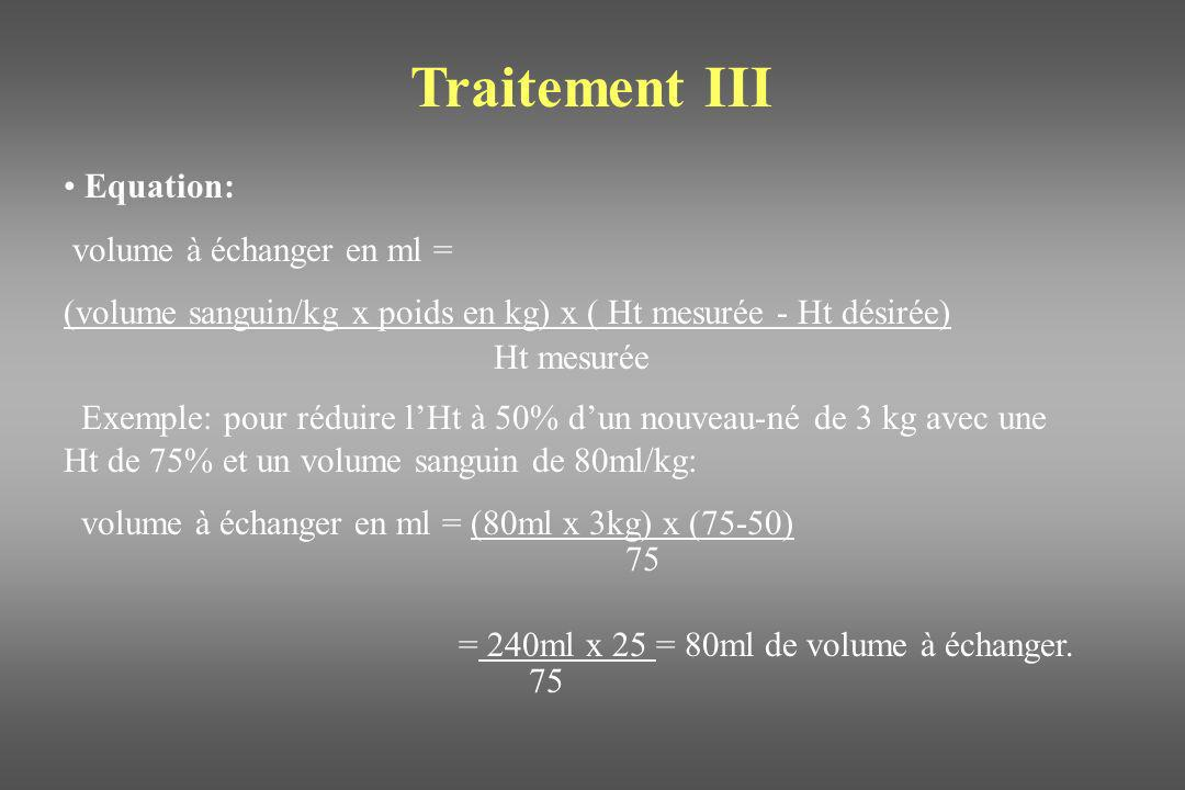 Traitement III Equation: volume à échanger en ml =