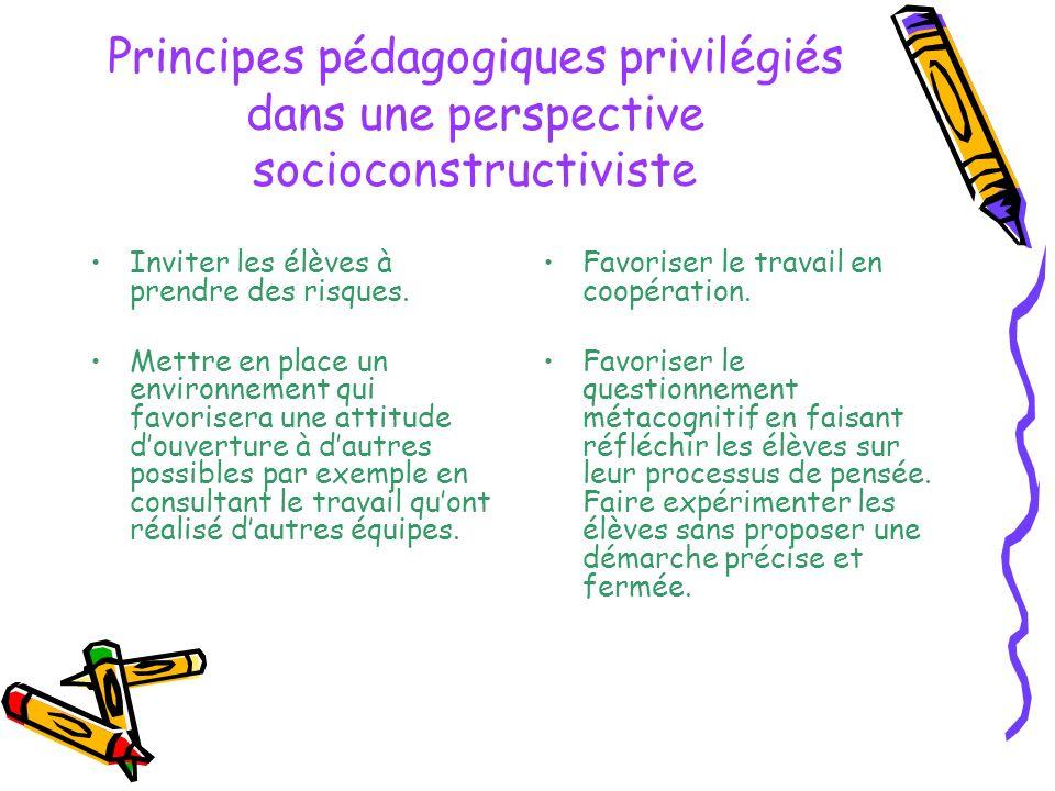 Principes pédagogiques privilégiés dans une perspective socioconstructiviste