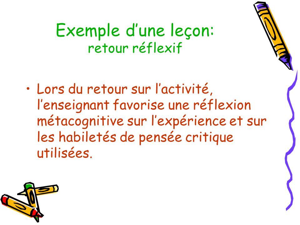 Exemple d'une leçon: retour réflexif