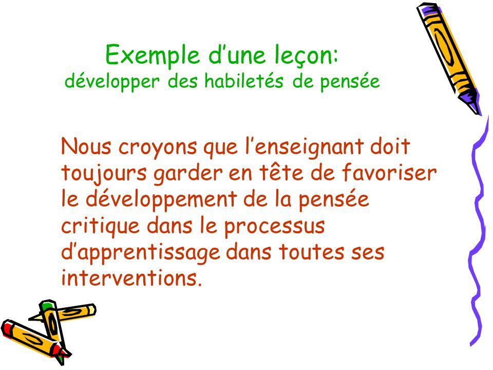 Exemple d'une leçon: développer des habiletés de pensée