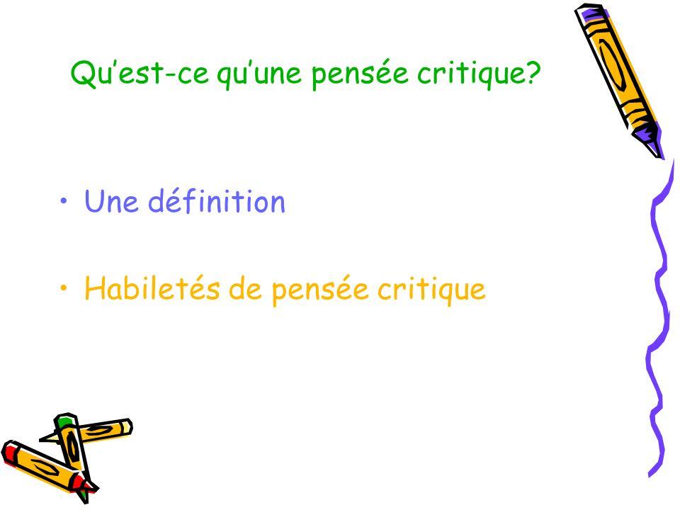 Qu'est-ce qu'une pensée critique