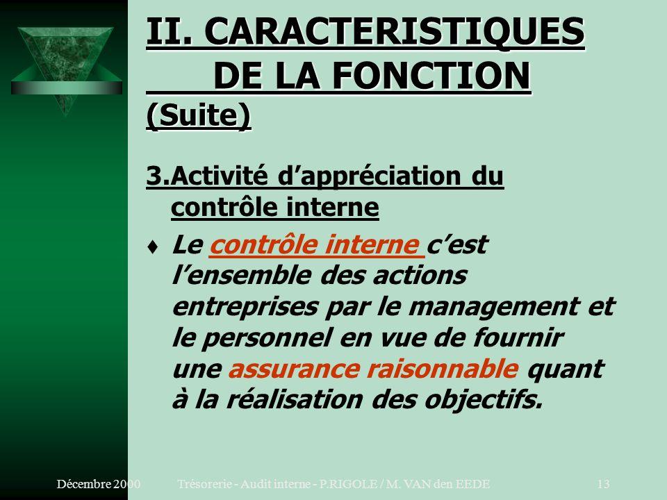II. CARACTERISTIQUES DE LA FONCTION (Suite)