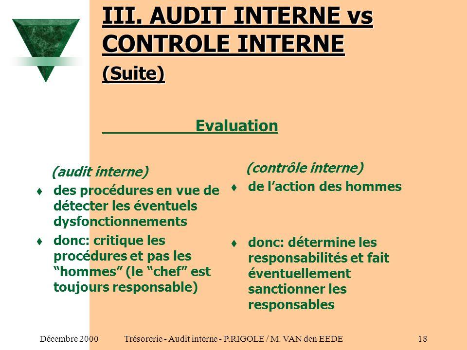 III. AUDIT INTERNE vs CONTROLE INTERNE (Suite) Evaluation