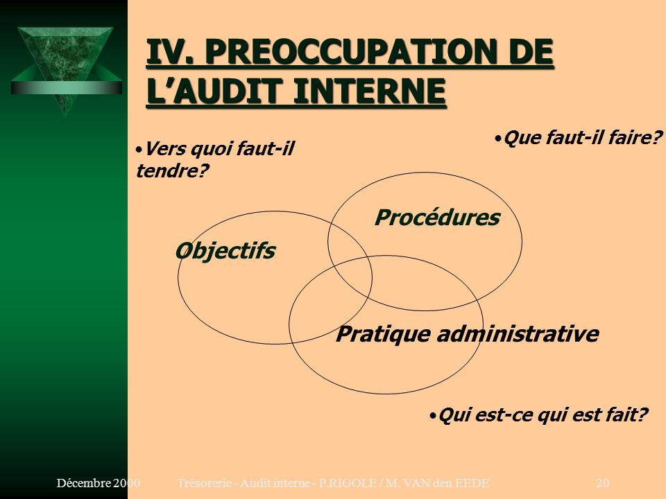 IV. PREOCCUPATION DE L'AUDIT INTERNE