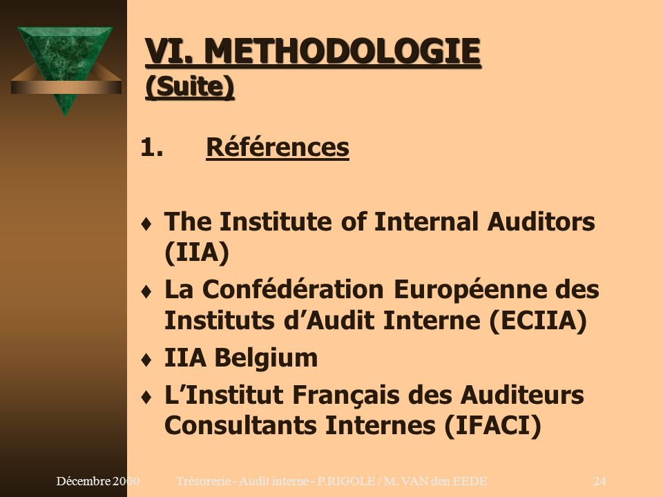 VI. METHODOLOGIE (Suite)