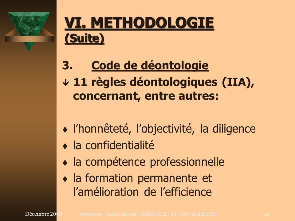VI. METHODOLOGIE (Suite)