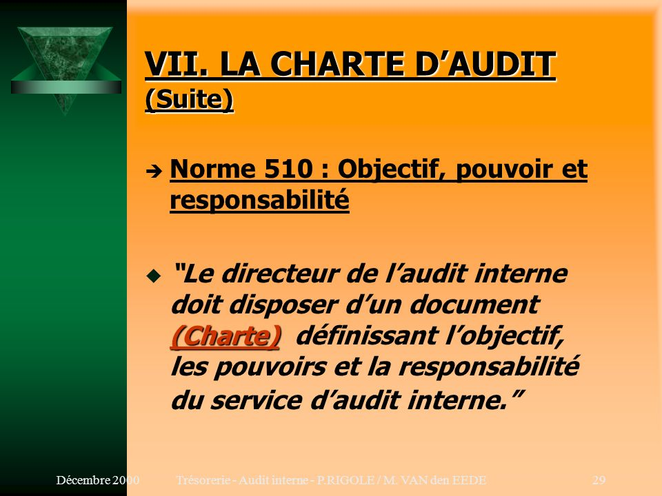 VII. LA CHARTE D'AUDIT (Suite)