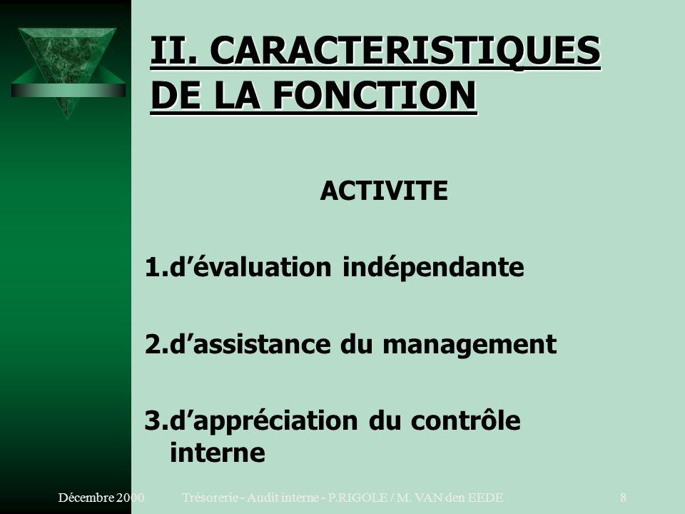 II. CARACTERISTIQUES DE LA FONCTION