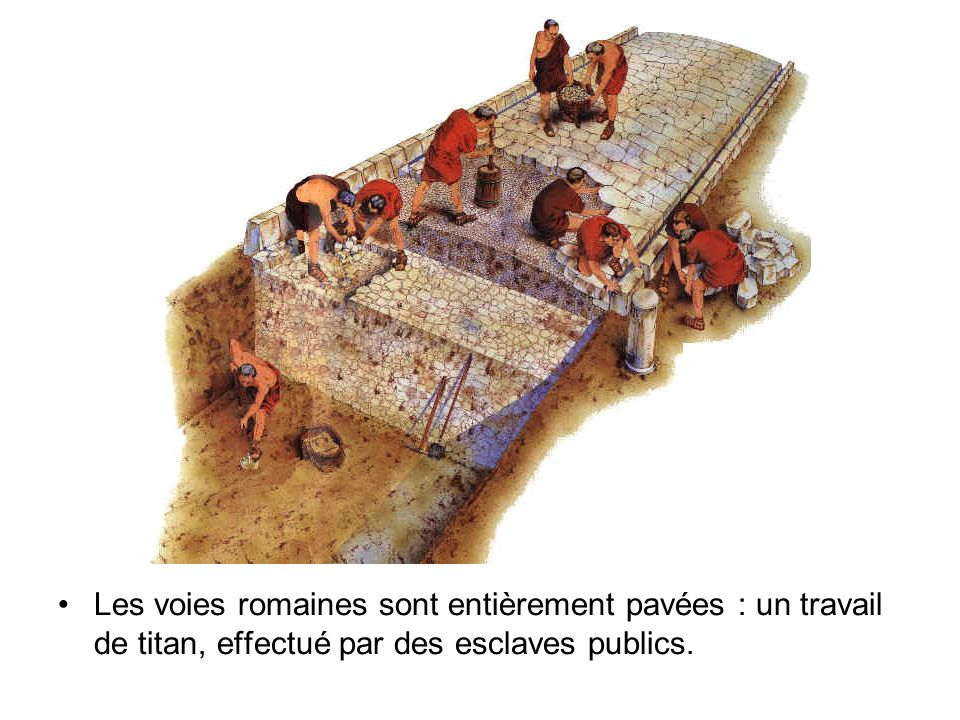 Les voies romaines sont entièrement pavées : un travail de titan, effectué par des esclaves publics.