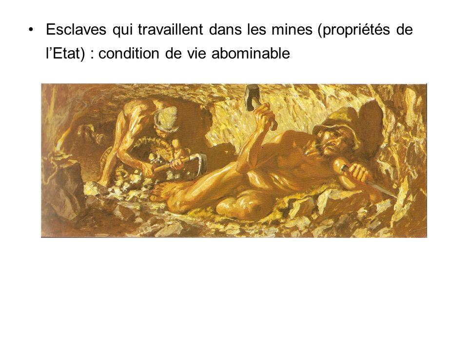 Esclaves qui travaillent dans les mines (propriétés de l'Etat) : condition de vie abominable