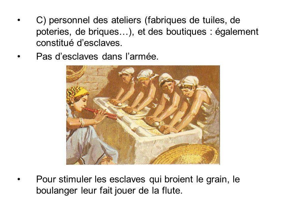 C) personnel des ateliers (fabriques de tuiles, de poteries, de briques…), et des boutiques : également constitué d'esclaves.