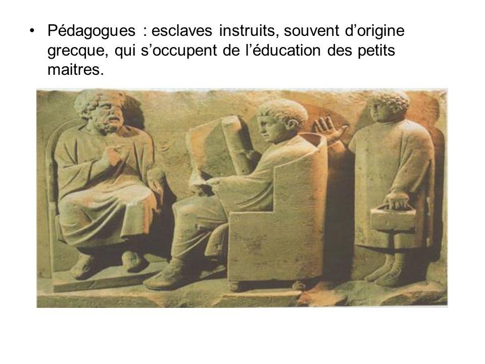 Pédagogues : esclaves instruits, souvent d'origine grecque, qui s'occupent de l'éducation des petits maitres.