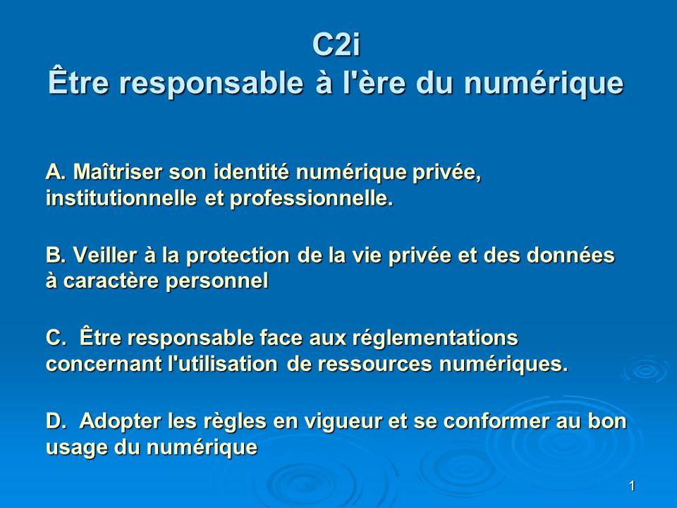 C2i Être responsable à l ère du numérique