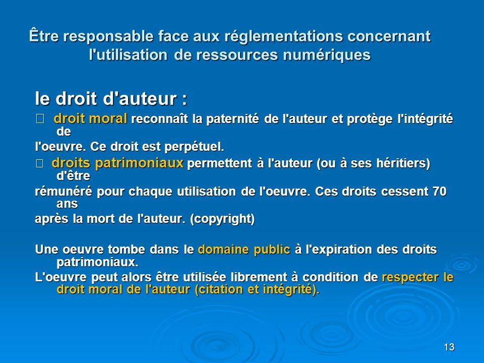 Être responsable face aux réglementations concernant l utilisation de ressources numériques