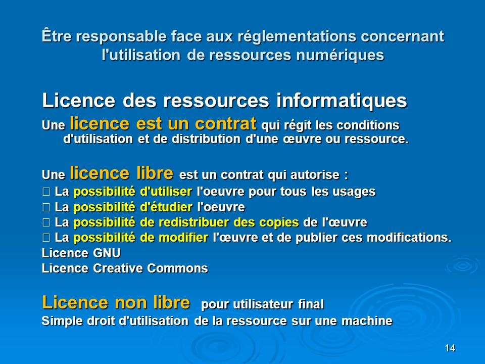 Licence des ressources informatiques