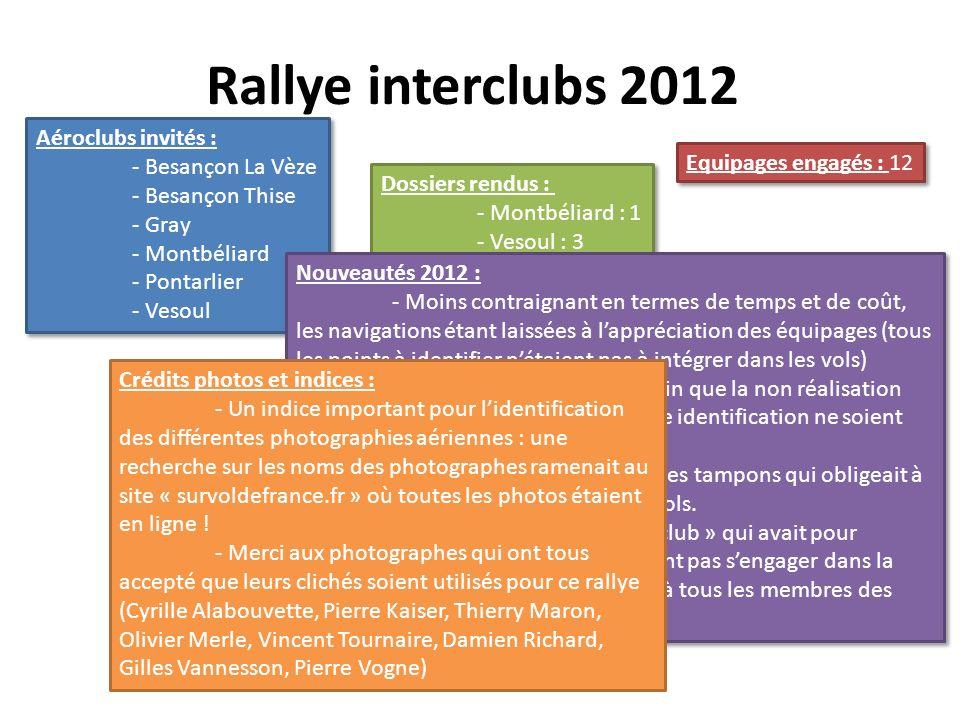 Rallye interclubs 2012 Aéroclubs invités : - Besançon La Vèze