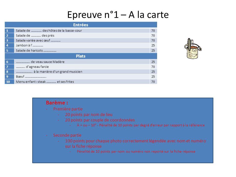 Epreuve n°1 – A la carte Barème : Entrées Plats Première partie