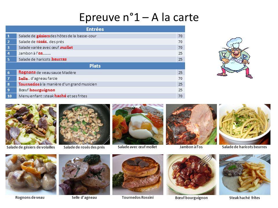 Epreuve n°1 – A la carte Entrées Plats gésiers rosés mollet os beurres