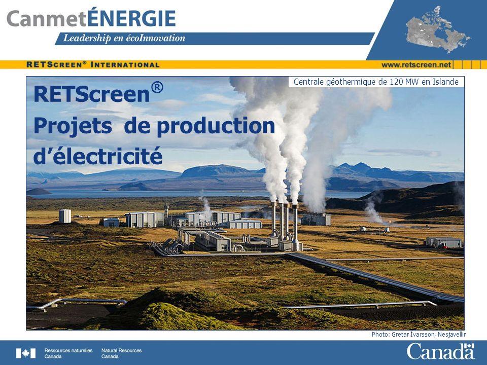RETScreen® Projets de production d'électricité