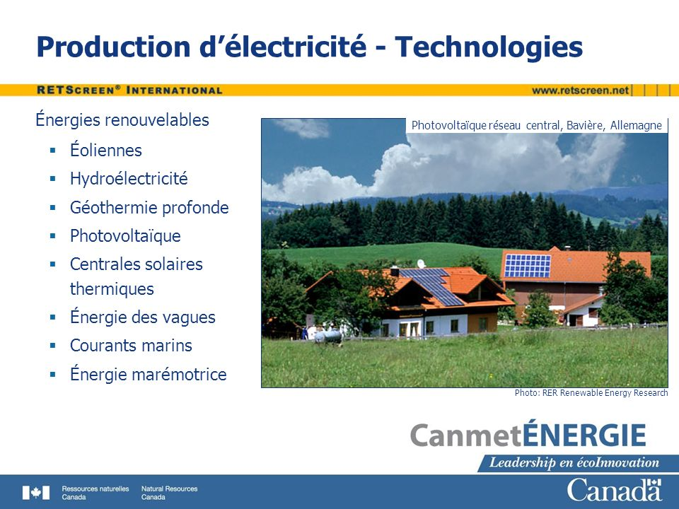Production d'électricité - Technologies