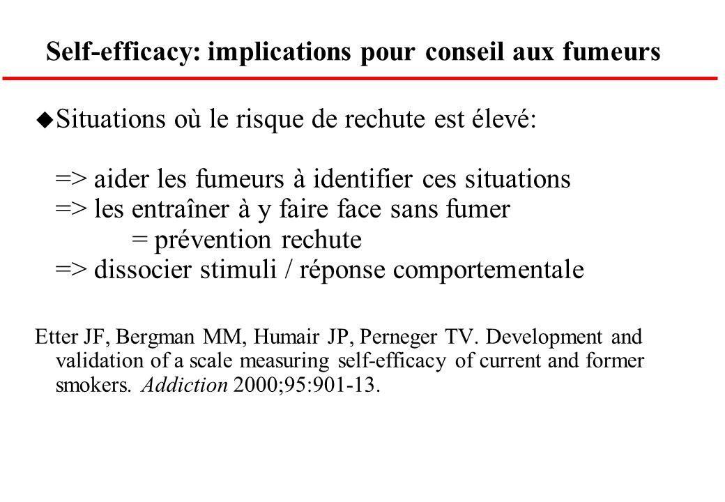 Self-efficacy: implications pour conseil aux fumeurs