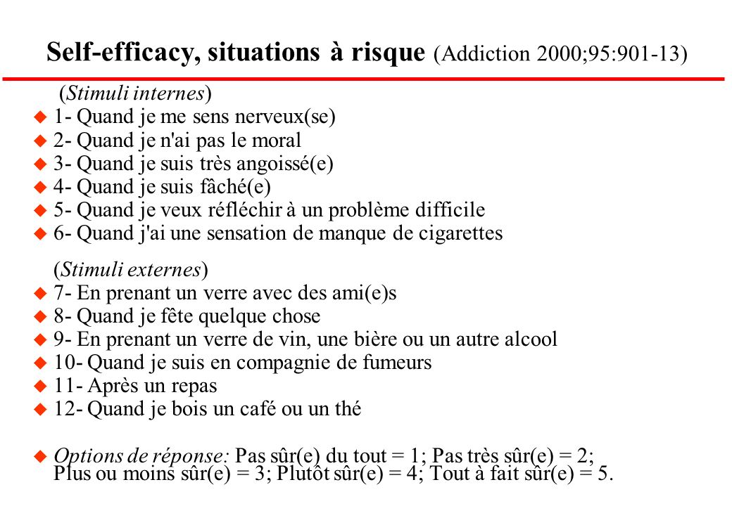 Self-efficacy, situations à risque (Addiction 2000;95:901-13)