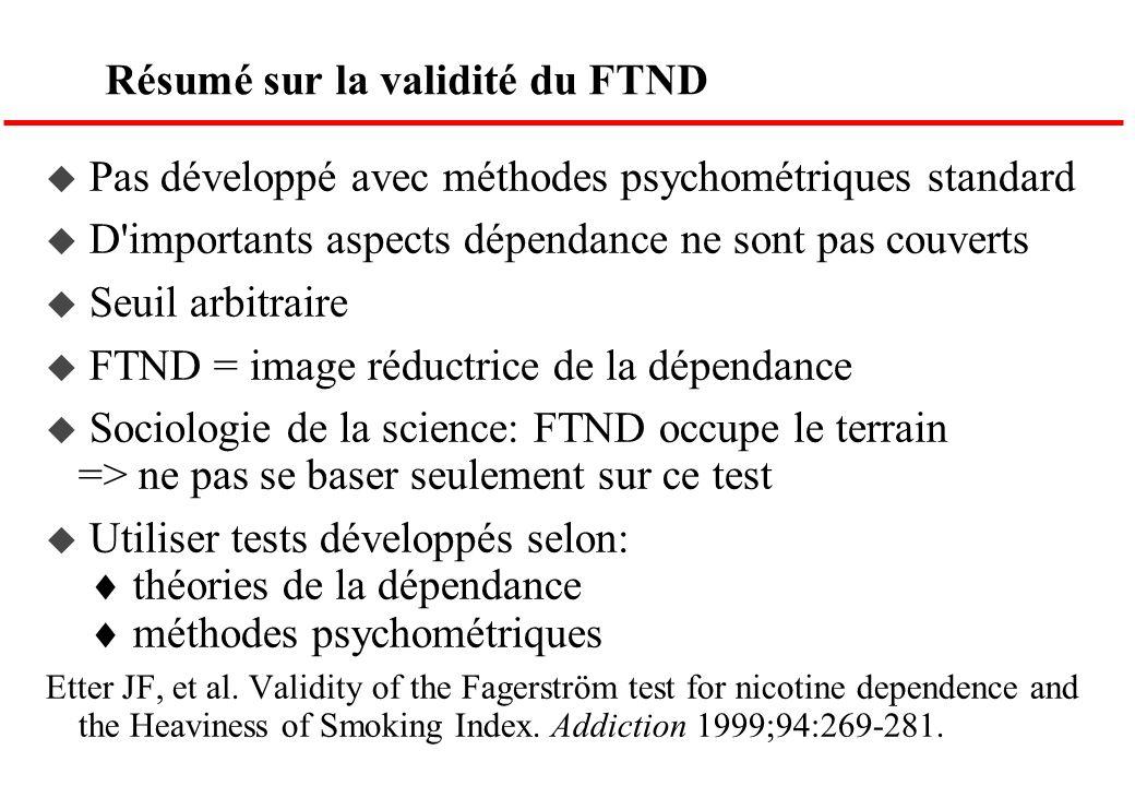 Résumé sur la validité du FTND