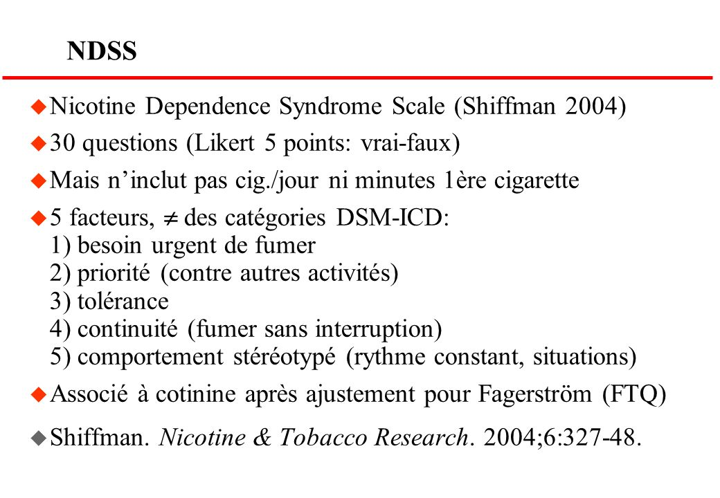 NDSS Nicotine Dependence Syndrome Scale (Shiffman 2004)