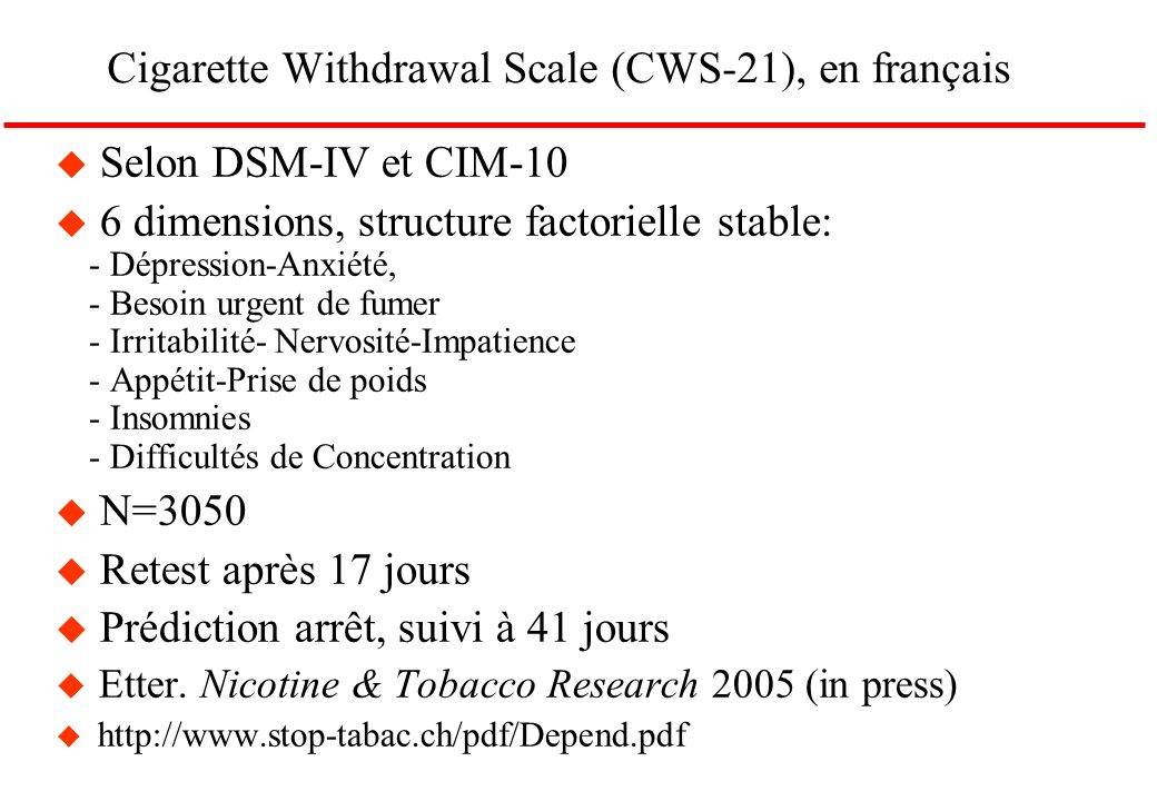 Cigarette Withdrawal Scale (CWS-21), en français