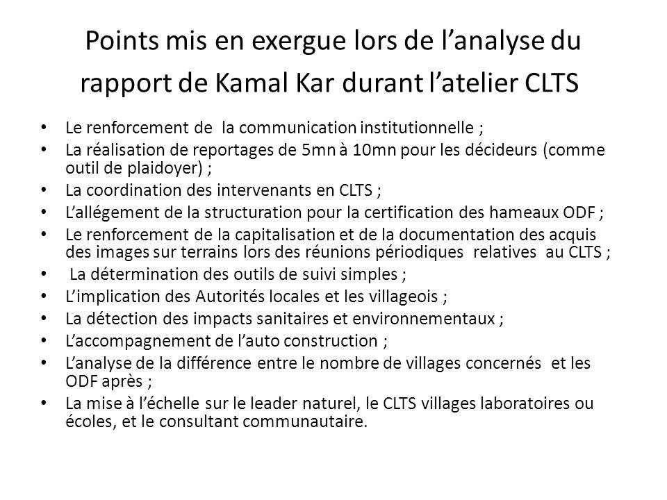 Points mis en exergue lors de l'analyse du rapport de Kamal Kar durant l'atelier CLTS