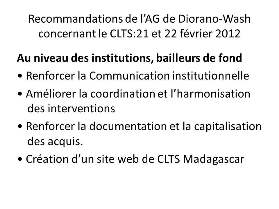 Recommandations de l'AG de Diorano-Wash concernant le CLTS:21 et 22 février 2012