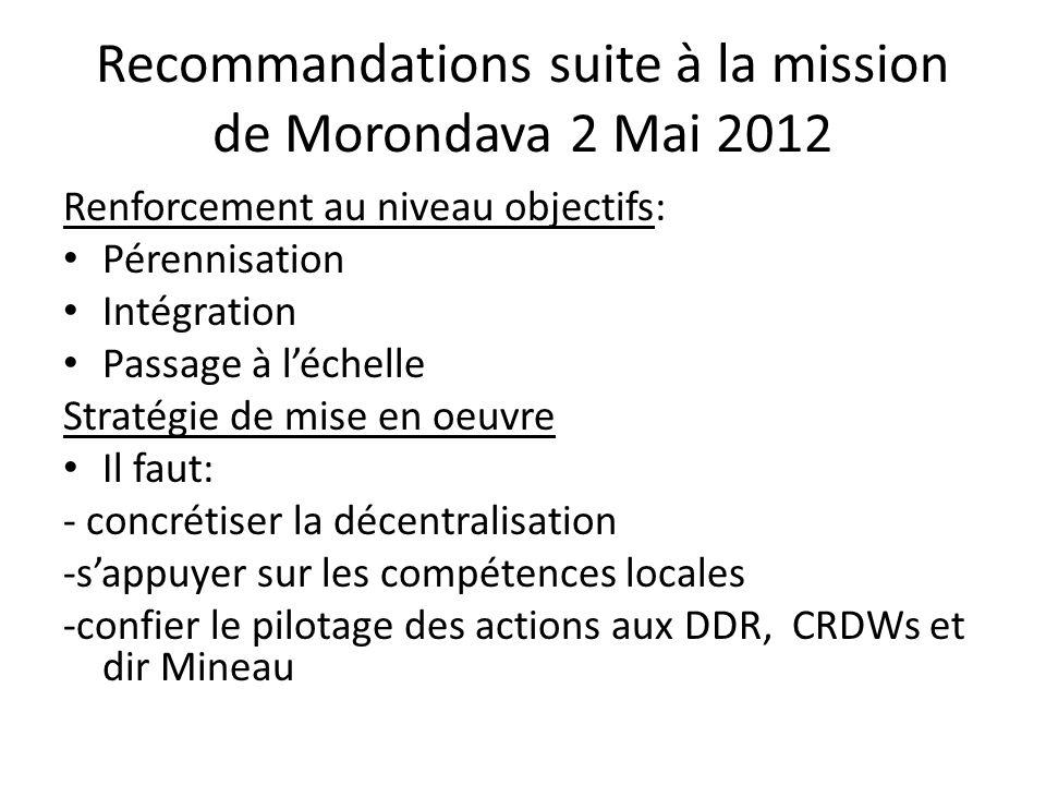 Recommandations suite à la mission de Morondava 2 Mai 2012