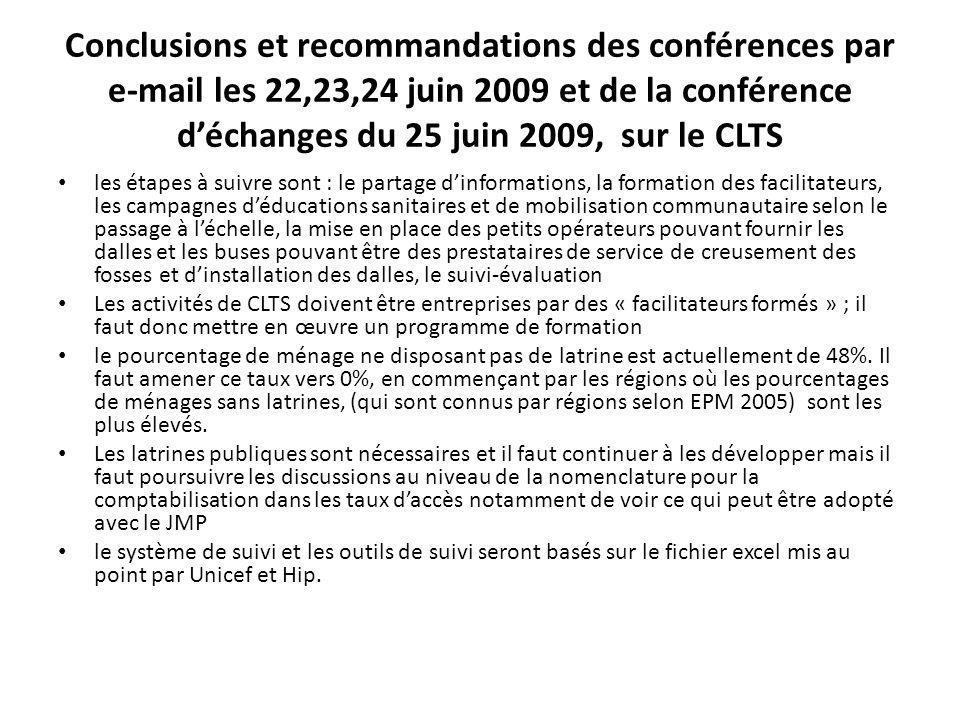 Conclusions et recommandations des conférences par e-mail les 22,23,24 juin 2009 et de la conférence d'échanges du 25 juin 2009, sur le CLTS