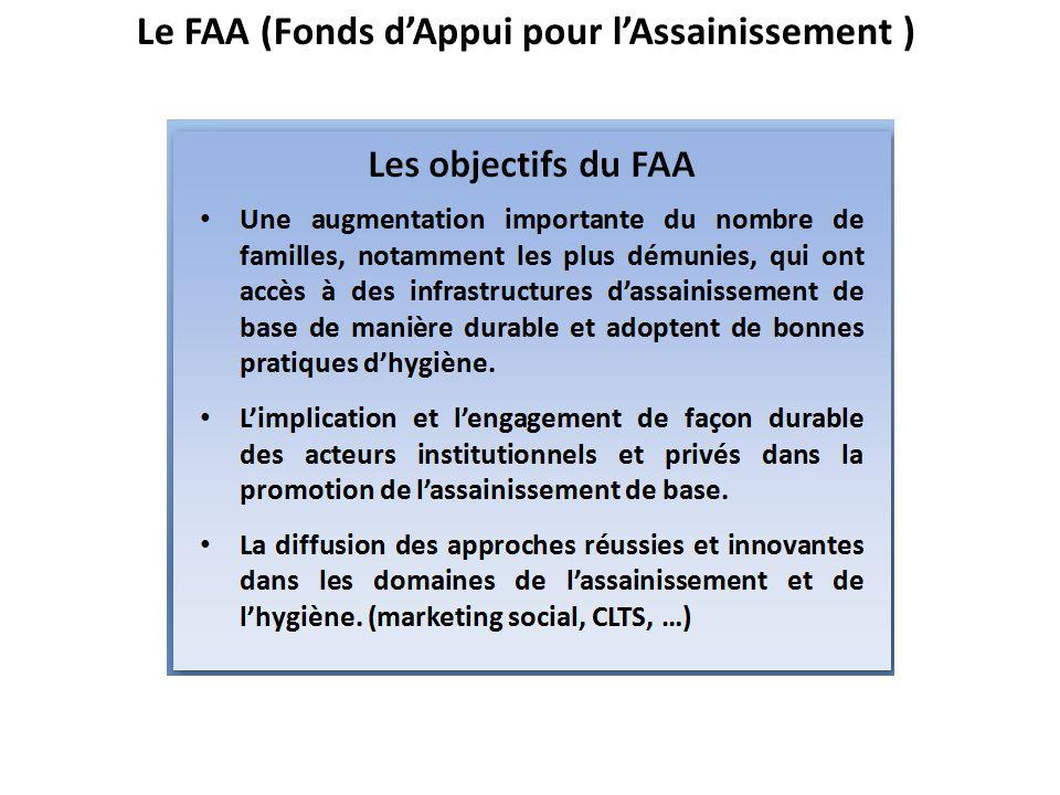 Le FAA (Fonds d'Appui pour l'Assainissement )