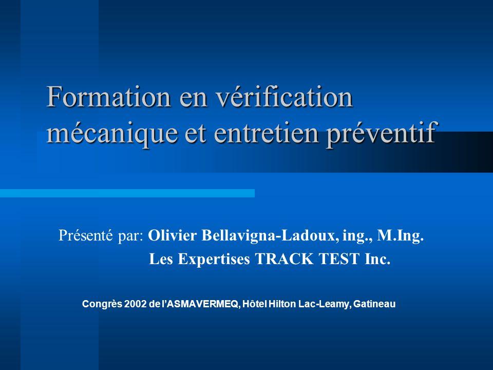 Formation en vérification mécanique et entretien préventif