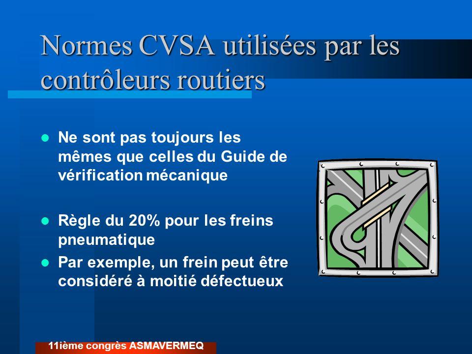 Normes CVSA utilisées par les contrôleurs routiers