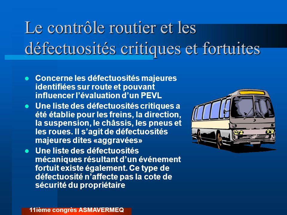 Le contrôle routier et les défectuosités critiques et fortuites