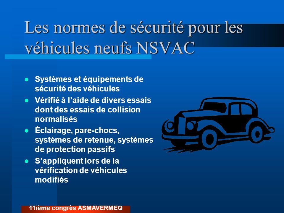 Les normes de sécurité pour les véhicules neufs NSVAC