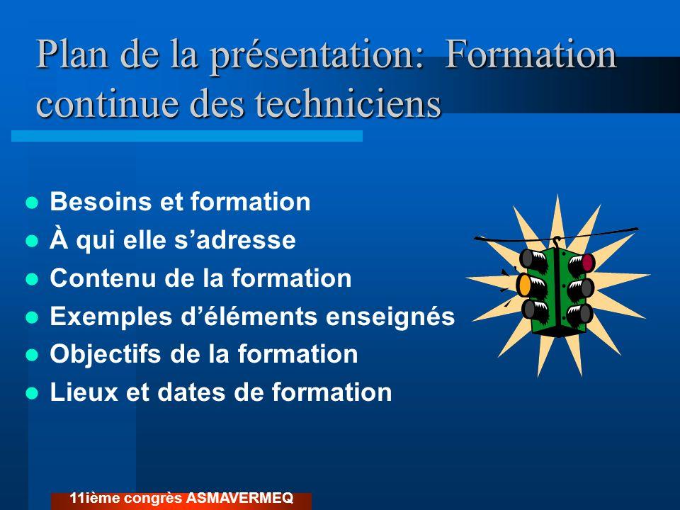 Plan de la présentation: Formation continue des techniciens