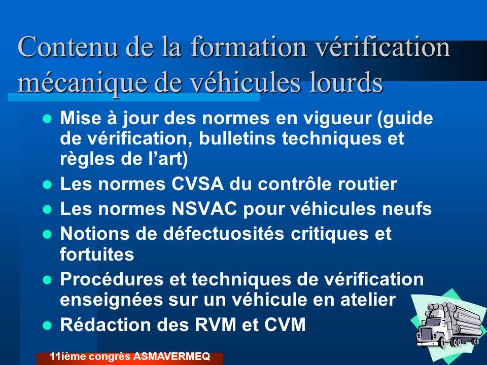 Contenu de la formation vérification mécanique de véhicules lourds