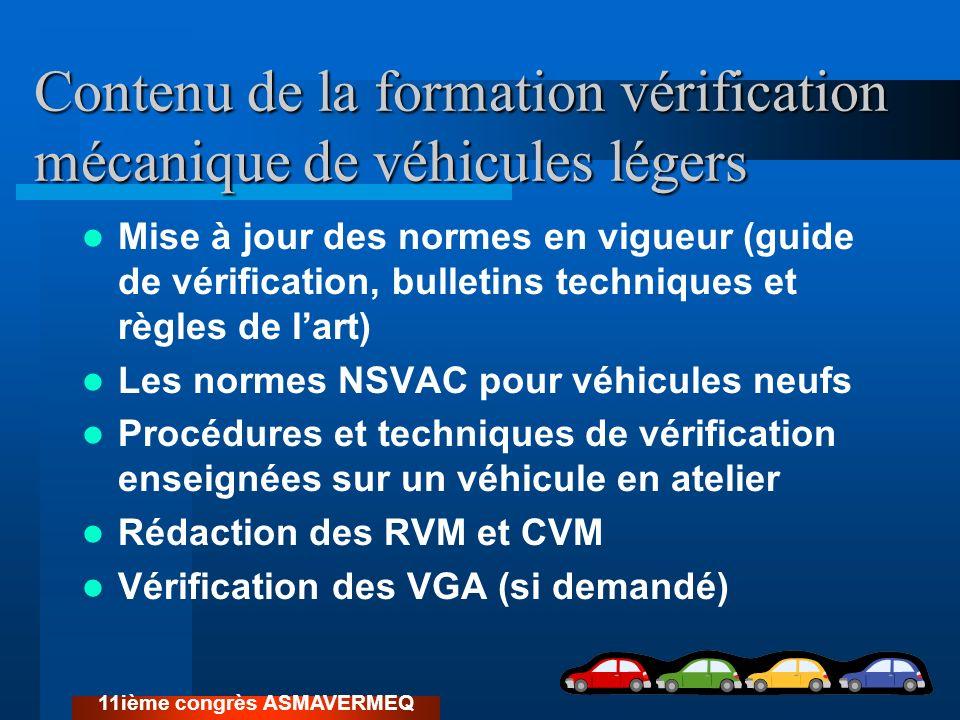 Contenu de la formation vérification mécanique de véhicules légers