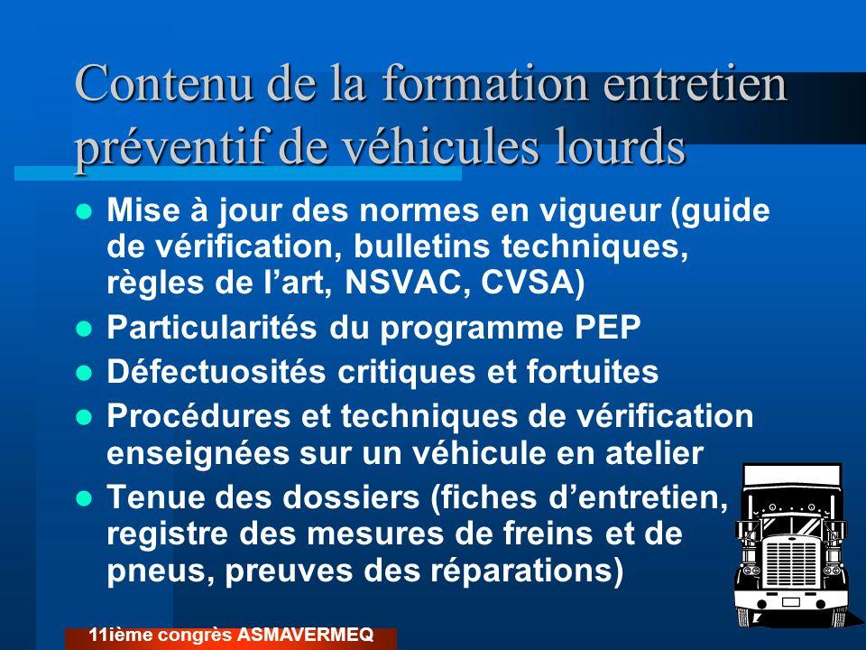 Contenu de la formation entretien préventif de véhicules lourds