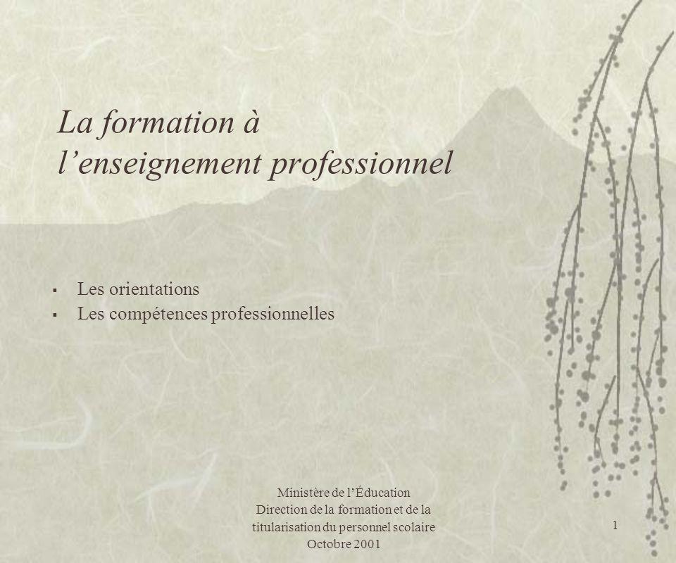La formation à l'enseignement professionnel