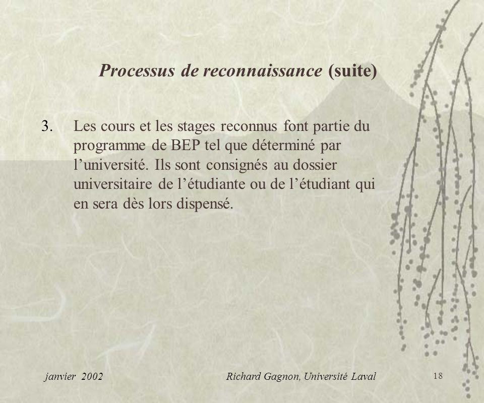 Processus de reconnaissance (suite)